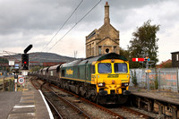 66527 heads through Carnforth on 8.10.14 with the re - routed 6M11 Hunterston to Fiddlers Ferry.