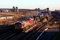 66116 & 60017 pass Hatfield & Stainforth  with a Scunthorpe to Doncaster and Toton engineers.