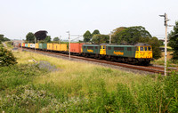 86638 & 86627 pass Elmsfield on 12.7.13 with a Coatbridge to Crewe liner.