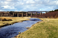 A 170 heads over Findhorn viaduct at Tomatin on 30.4.16  with a Inverness to Glasgow service.