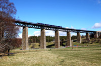 A 170 heads over Findhorn viaduct at Tomatin on 30.4.16  with a  Glasgow to Inverness service.