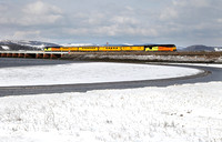 67027 & 67023 head past a Snowy Arnside on 28.2.18 with the 0938 Carnforth to Derby.