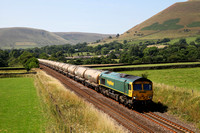 66620 heads away from Edale on 23.7.14 with the Tunstead to West Thurrocks.