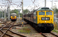47270 backs into the loops at Carnforth with the ECS to York as 47580 waits with a ECS from Southall