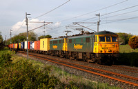 86613 & 86628 head away from Carnforth after being looped with 4M74 Coatbridge to Crewe on 15.5.14.