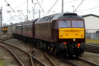 47854 returns to the mainline and departs Carnforth for Lincoln on 4.10.11