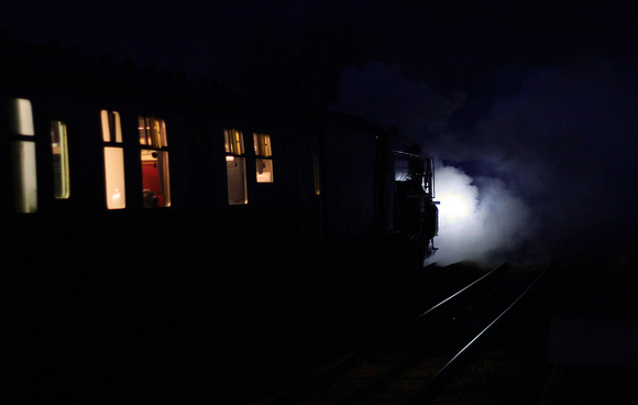 Night time Tornado, 60163 pulls away from Horton in Ribblesdale with the 17.15 from Skipton.