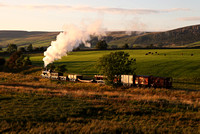 The sun sets on a excellent charter with 52322 on the Embsay line.