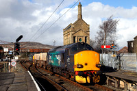 37218 & 37609 arrive into Carnforth with 6C51 Sellafield to Heysham on 1.3.17