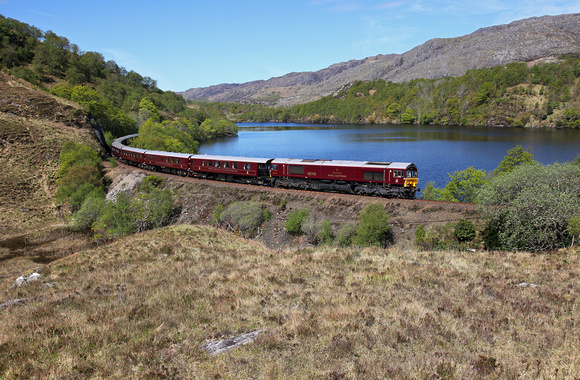 66746 passes Loch Dubh as it heads back to Fort William.