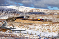 66076 passes Ribblehead on 13.1.17 with the Newbiggin to Hull empty gypsum.