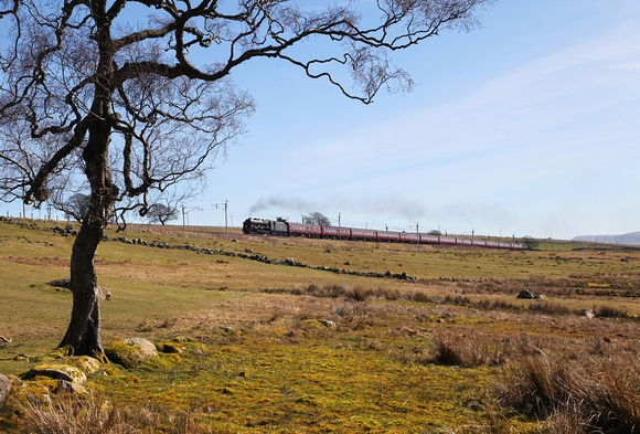 46115 heads past Salterwath whilst working a Winter Cumbrian Mountain on 25.3.17