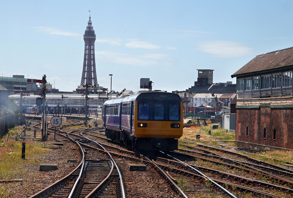 142032 heads out of Blackpool on 15.6.17 as we arrive from York.