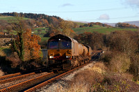 66421 & 66301 head past Keer Holme on 19.11.13 with 3J11 to Carnforth.