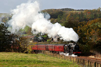 45690 passes Keer Holme on 21.10.14 with its loaded test run around the Hellifield circuit.