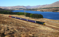 73966 heads along the West Highland line at Achallader with Loch Tulla behind on 5.5.17.